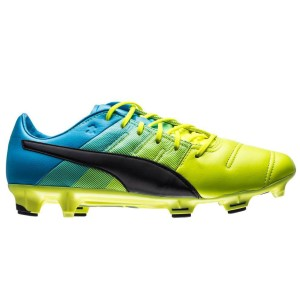 puma football boots. puma evopower 1.3 leather fg mens football boots - yellow/black/atomic blue